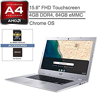 """Acer Chromebook 315 15.6"""" Touchscreen Laptop Computer, for Business or Education,AMD A4-9120C 1.6GHz, 4GB RAM, 64GB eMMC, Up to 10 Hours Battery, Chrome OS, Silver, 32GB SD Card+ iPuzzle Accessories"""
