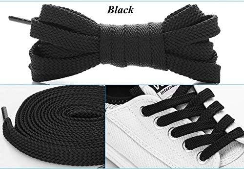 TMYQM 1Pairダブルフラットレース ポリエステル靴ひもファッションスポーツカジュアル靴レースソリッドフラット靴ひも28Colors (Color : Black, Size : 100cm)