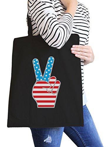 Bags Natural Misura Peace Flag Canvas unica inc Borsa Bags spiaggia American Canvas 365 Black Printing da Donna Ameowica z0vww4