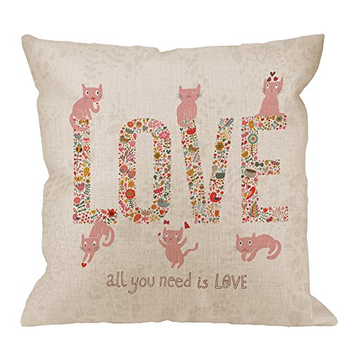 HGOD DESIGNS Love Pillow Covers,Decorative Throw Pillow Romantic Word Love with Birds Flowers and Cute Cat Pillow cases Cotton Linen Outdoor Square Cushion Covers For Home Sofa couch 18x18 inch Pink