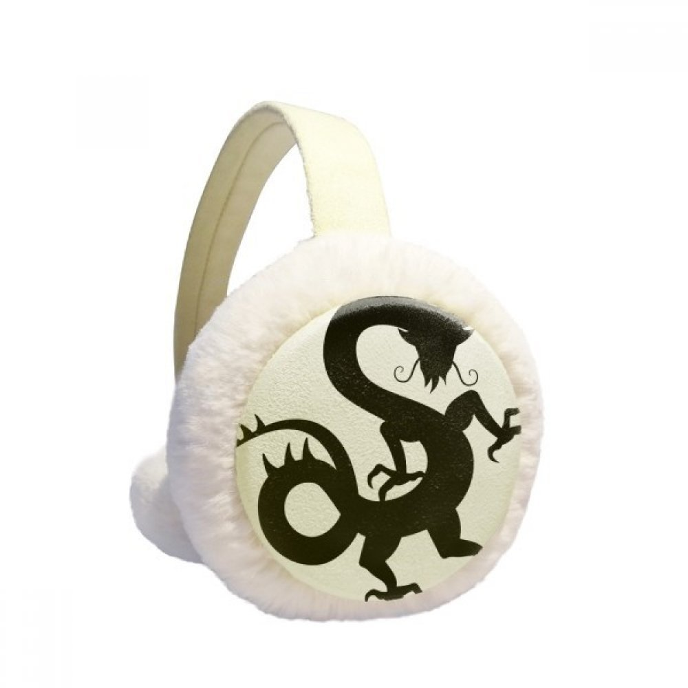 Dragon Silhouette China Chinese Pattern Winter Earmuffs Ear Warmers Faux Fur Foldable Plush Outdoor Gift