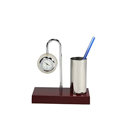 Deals Outlet Brass & Stainless Steel Home Office Decor Item in Gold & Silver Plating Multi Purpose Pen Holder With Table Clock For Diwali Gift, Festive Décor, Gifts, Gift Set, Cheap Gifts, Tabletop, Car, Table Clock, Corporate Gift, Award For Functions, Felicitation, Gift Items, Office Functions Awards, Other Functions Awards.