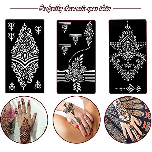 Koogel Henna Tattoo Stencil Kit,97pcs Temporary Glitter Airbrush Tattoo Stencils Arabian Tattoo Stickers for Face Paint Body Art