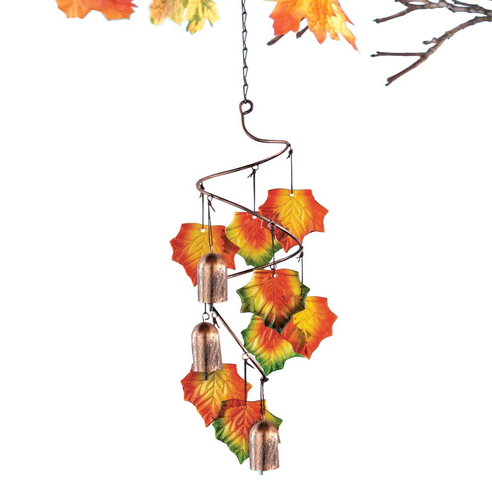 Collections Etc Autumn Leaves Wind Chime Outdoor Fall Decoration