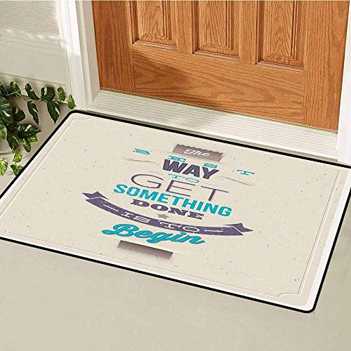 GloriaJohnson Motivational Commercial Grade Entrance mat Retro Frame with Words of Wisdom About Leadership and Success for entrances garages patios W31.5 x L47.2 Inch Ivory Eggplant Turquoise ()