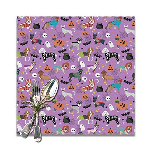 shirt home Placemats,Dogs Halloween Dog Costumes pet Breeds Corgi Doxie Labrador Poodle Heat-Resistant Washable Cotton Placemats,Polyester Linen Dining Table Mats for Kitchen,Set of 6,12x12 inch]()