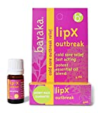 Baraka LipX Outbreak 4ml- Cold Sore Outbreak Relief. Fever Blister and Cold Sore Fast Acting Formula. All Natural, Organic Certified Potent Essential Oil Blend (1 pk)