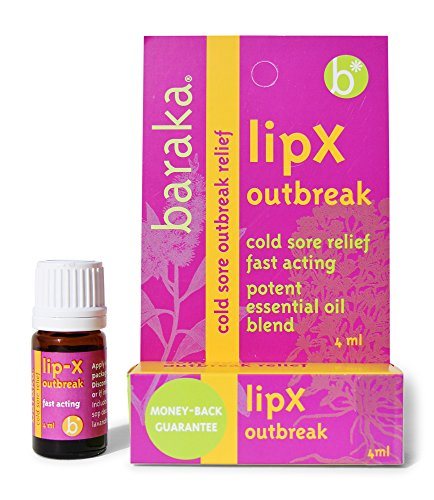 Baraka LipX Outbreak 4ml- Cold Sore Outbreak Relief. Fever Blister and Cold Sore Fast Acting Formula. All Natural, Organic Certified Potent Essential Oil Blend (1 pk) by Baraka