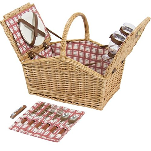 Produit Royal 2-Person Wicker Hamper Double Lid Picnic Basket W/ Flatware, Acrylic Wine Glasses, Plates – Red/White Lid Handles Style Deluxe Classic Traditional Willow Set Outdoor - Bhs Wine Glasses