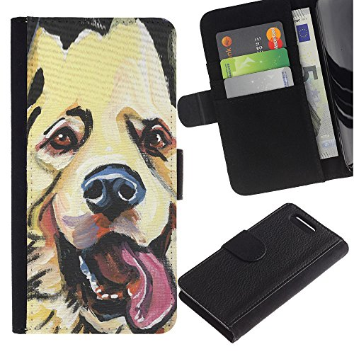 LASTONE PHONE CASE / Lujo Billetera de Cuero Caso del tirón Titular de la tarjeta Flip Carcasa Funda para Sony Xperia Z1 Compact D5503 / Golden Retriever Labrador Art Drawing Dog