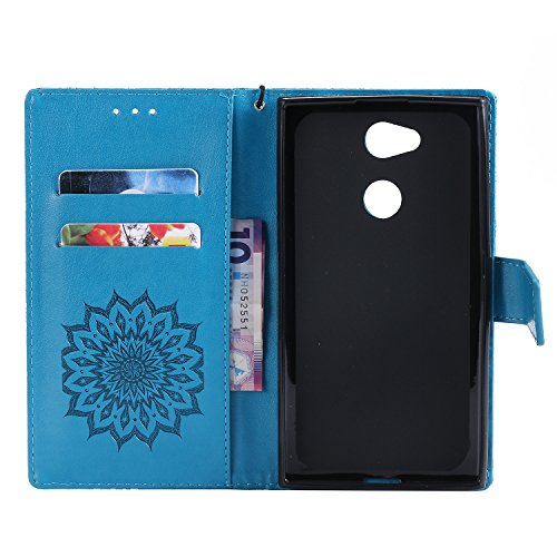 Funda Sony Xperia L2, SsHhUu Funda PU Piel Genuino Carcasa en Folio [Ranuras para Tarjetas] [Cierre Magnetico] con Lápiz óptico + Acollador para Sony Xperia L2 (5.5) Marrón Azul