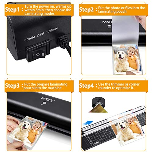 MATCC 13'' Thermal Laminator Machine for A3/A4/A6 Laminating Machine with Paper Cutter and Corner Rounder 2 Roller System Laminator Machine Faster Warm-up Quick Laminating Speed Suit for Home Art by MATCC (Image #4)