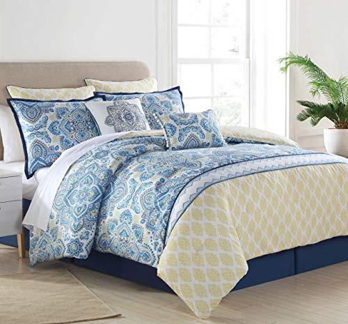 KingLinen 8 Piece Sasha Blue/Yellow Comforter Set Queen (Sasha Bed)