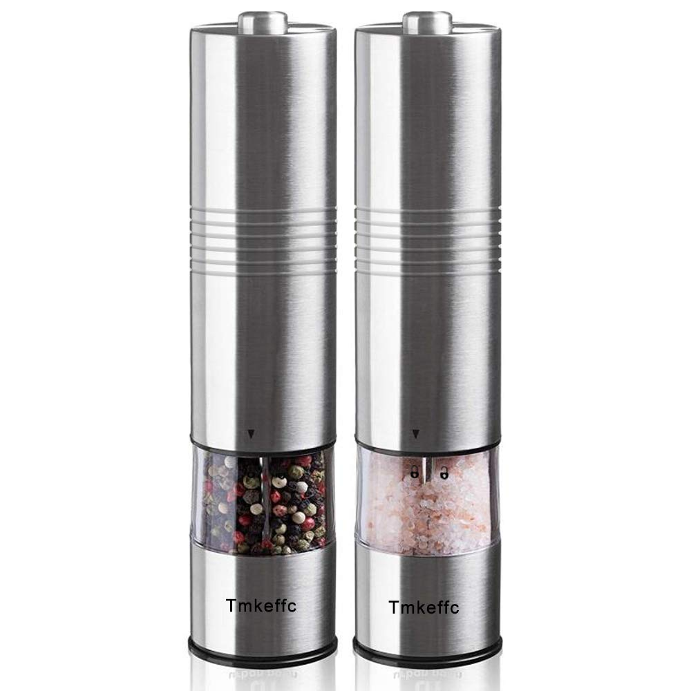 TMKEFFC Electric Salt and Pepper Grinder Set - Battery Operated Stainless Steel Mill with LED Light (Pack of 2 Mills) - Electronic Adjustable Shakers - Ceramic Grinders - Automatic One Handed Operation