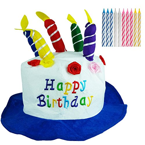 Birthday Hat - Birthday Cake Hat - Happy Birthday Hat - (Hat & Birthday Candles) by Funny Party Hats -