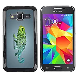 Be Good Phone Accessory // Dura Cáscara cubierta Protectora Caso Carcasa Funda de Protección para Samsung Galaxy Core Prime SM-G360 // Funky Rainbow Chameleon