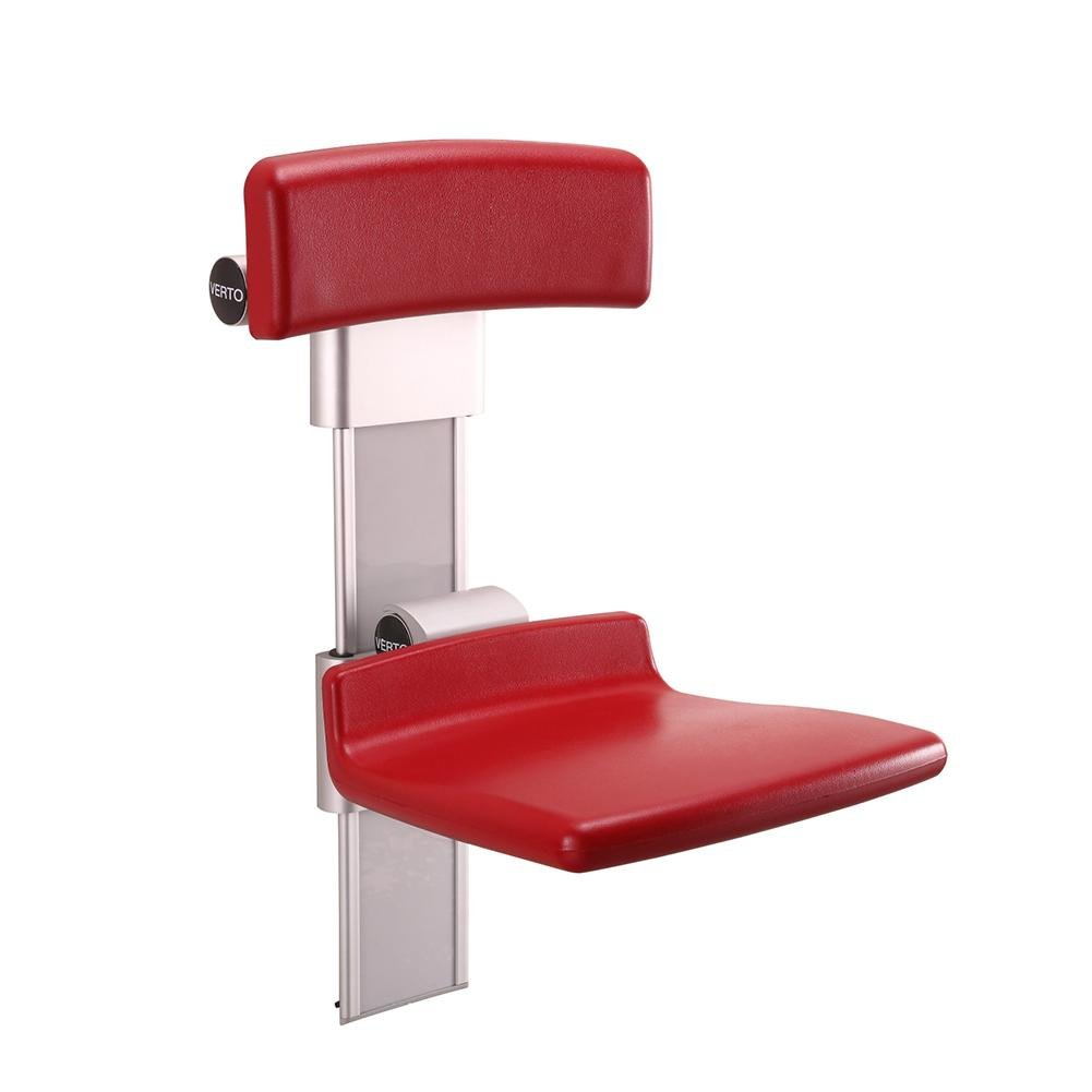 TSAR003 Lift Chair / Bathroom Folding Shower Seat Wall Mounted With Backrest And Height Adjustable,Specifically For The Elderly /Disabled People/Pregnant Women,Red, 800 Lb Load by TSAR003