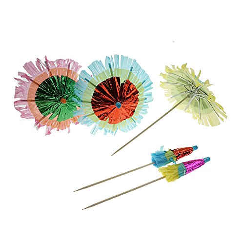 (Colorful Decorative Fringe Paper Umbrellas Cocktail Parasol Picks Cupcake Toppers Picks, 20 Counts by)