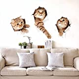 3D Cute Cats Wall Sticker Decal Home Paper PVC Murals House Wallpaper Bedroom Kids Babys Living Room Art Picture Decoration