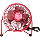 Eastlion 11 Colors Portable 4-inch Quiet Cool Metal Mini USB Fan,Red