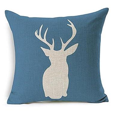 HT&PJ Decorative Cotton Linen Square Throw Pillow Case Cushion Cover Blue Background Dear Design 18 x 18 Inches …