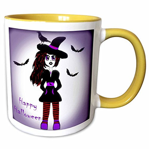 3dRose WhiteOaks Photography and Artwork - Anime Designs - Little Witch Halloween is an anime character I created and drew - 15oz Two-Tone Yellow Mug (mug_193042_13) -