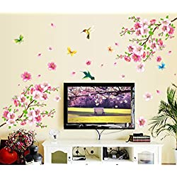 Jieyui Decorative Wall Sticker Cherry Blossom Flower Butterfly Tree Wall Stickers Art Home Decor Sticker Mural 60cm X 90cm