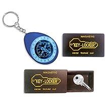 The Nekid Cow Magnetic 2 pack Set Car Hide-A-Key Holder Case - SUPER STRONG Magnet Key Case- Storage Box Holder PLUS Portable Key Chain Mini Oil Compass [BUNDLE PACK-3pcs] Great Gift Giving Idea