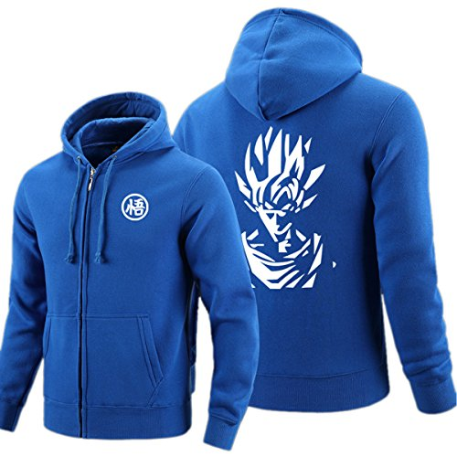 ELEFINE Anime Cosplay Dragon Ball Z Super Saiyan Goku Costume Zip Hoodie Long Sleeve Jacket Blue L