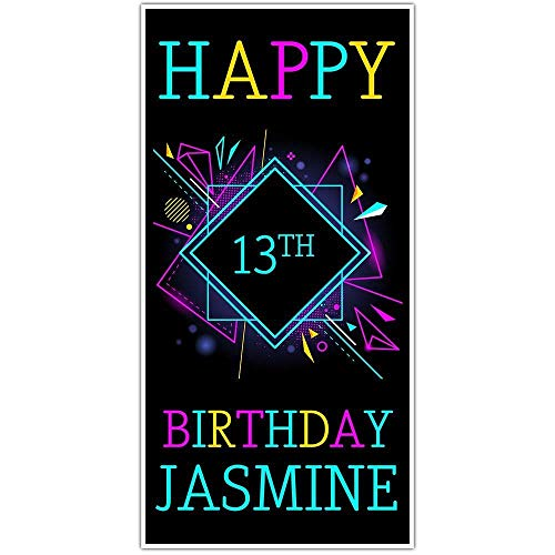 Black Neon Birthday Banner Personalized Party Backdrop Decoration