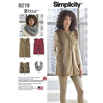 Simplicity Schnittmuster 8219 Damen Weste, gefüttert, in drei Längen ...