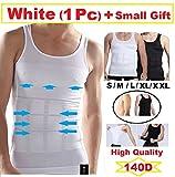 Mens Slimming Body Shaper Undershirt Vest Shirt Abs Abdomen Shaperware (S- XXL) (Medium, White)