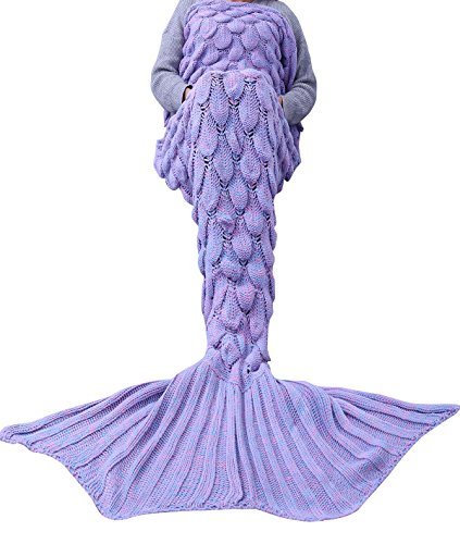FEESHOW Handcrafted Knitted Crochet Mermaid Tail Living Room Blanket Bedroom Sofa Throw Couch Sleeping Bag for Adult Kids Teens Children (Lavender (Adult))
