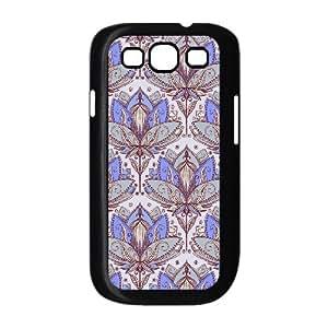 Doah Art Print Samsung Galaxy S3 Case Fashion Art Deco Lotus Rising 2 Sage Grey & Purple Pattern, Samsung Galaxy S3 Case Man [Black]