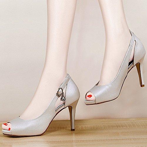 de gato de ahuecados 35 zapatos Ajunr zapatos tacon mujer noche Nueva elegante de tiendas tacon de Verano boca Transpirable superficial de Moda Mujer Sandalias de bien pescado wZqRzf