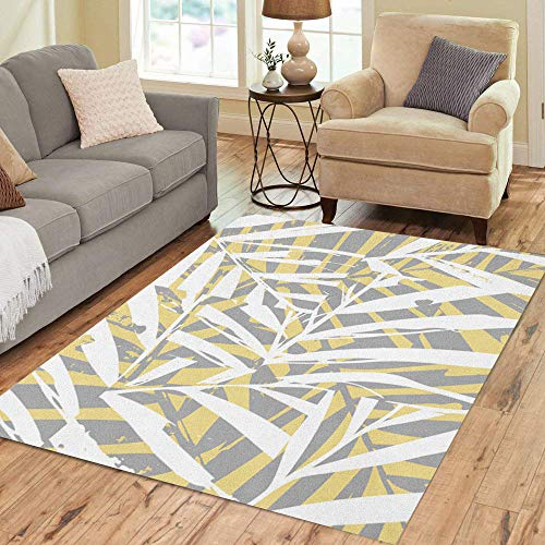 (Semtomn Area Rug 3' X 5' Gray Beach Palm Fronds Pattern Yellow Grey Home Leaf Home Decor Collection Floor Rugs Carpet for Living Room Bedroom Dining Room)