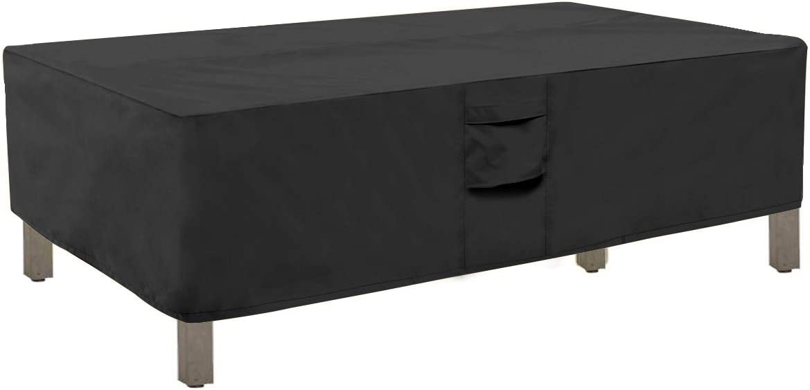 Honest Outfitters Rectangular Patio Coffee Table Cover,Water Resistant and Heavy Duty Outdoor Lawn Patio Furniture Covers(Black,48''L x 28''W x 13''H)