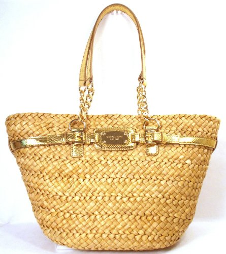 Michael Kors Hamilton N/S Corn Husk Natural Straw Basket Tote Chain Python Embossed Gold Leather, Bags Central