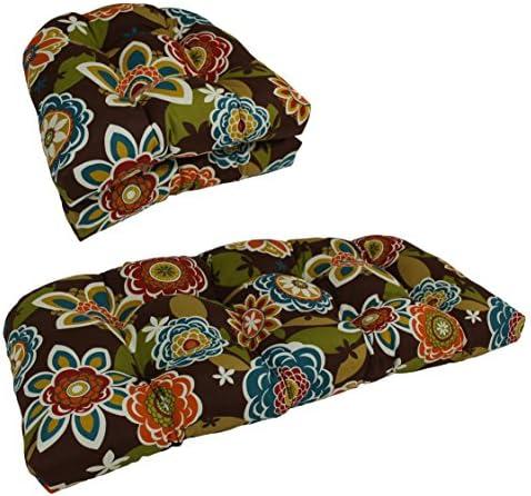 Blazing Needles U-Shaped Patterned Spun Polyester Tufted Settee Cushion Set