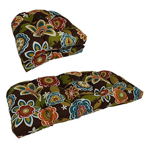 Blazing Needles U-Shaped Patterned Spun Polyester Tufted Settee Cushion Set, Set of 3, Westport Teal ()