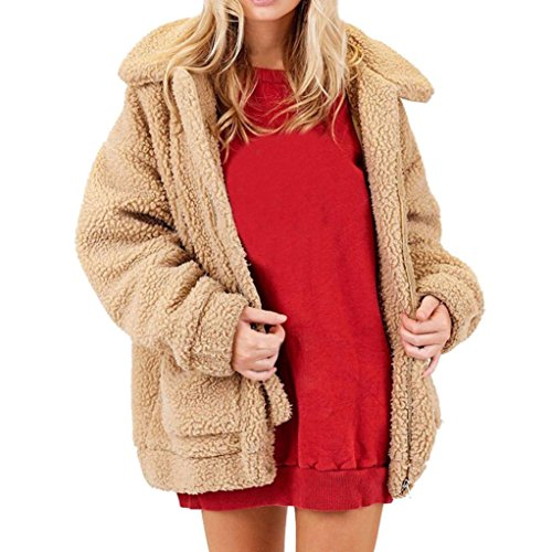 Internert Abrigo de cremallera de lana cálida de invierno de moda de mujer Abrigo suéter Caqui