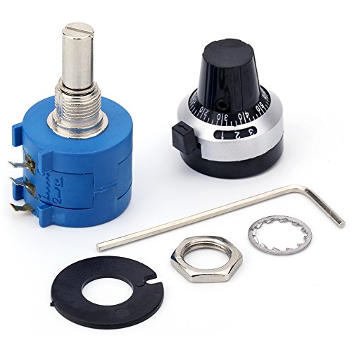 JANSANE 10 Turn Potentiometer 10K Ohm 2w Wirewound Multiturn Adjustable Precision with Rotary Dial Knob 6mm Shaft