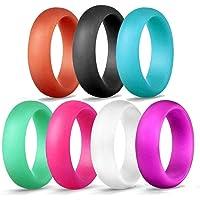 Aolvo - Juego de anillos de boda de silicona, 7 unidades, diseño 2018, banda de boda de silicona de alta calidad, fino y apilable, anillo de boda de silicona (anillo de goma) para mujer, color negro, morado, blanco, turquesa, azul claro, naranja y rojo