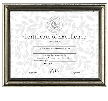 Amazon.com - Antique Silver Document Frame with Certificate, 8-1/2 x ...
