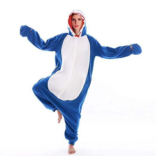 Image Unavailable. Image not available for. Color  Adult Shark Onesie  Pajamas Animal Cosplay Costume Homewear Sleepwear for Women Men 82081d78c646