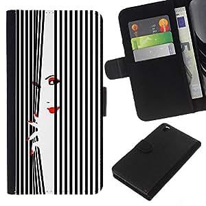 WINCASE Cuadro Funda Voltear Cuero Ranura Tarjetas TPU Carcasas Protectora Cover Case Para HTC DESIRE 816 - Labios de la mujer uñas rojo negro blanco