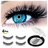WEIJI Magnetic Eyelashes No Glue - Dual Magnet Black False Eyelashes for Natural Look - 3D Reusable Fake Lashes Extensions - Thick Soft & Handmade Seconds to Apply (1 Pair 4 Pieces)