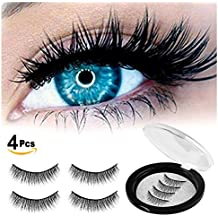Magnetic Eyelashes 3 Magnets IMIM Magnetic Lashes 3 Lash Magnetic Fake Eye Lashes 3D Reusable Soft False Eyelashes No Glue Cover the Entire Eyelids for Natural Look (4 PCS)