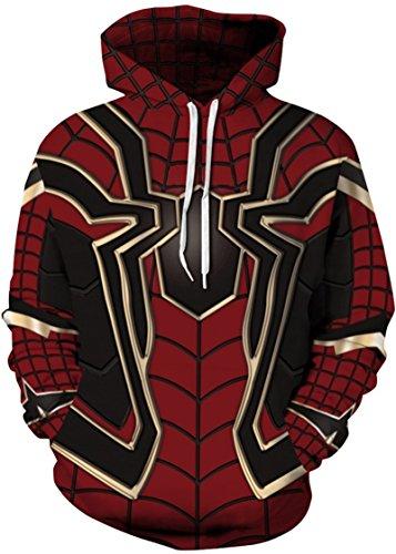 Pandolah Men's 2018 Fashion Athletic Sweatshirts Animal Printed Hoodies(Spider Man,Large/X-Large)