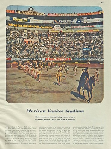 (Mexican Yankee Stadium, 40's full page color illustration by Adrian J. Salvas Bull Ring) 1948 Esquire Magazine print)